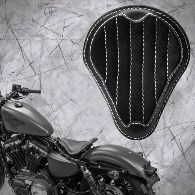 """Solo Sitz + Montage Kit Harley Davidson Sportster 04-20 """"Glanz und Samt"""" Schwarz und Beige V2"""