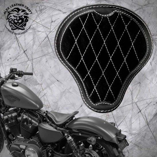 """Solo Selle + Montage Kit Harley Davidson Sportster 04-20 """"Gloss et Velours"""" Noir et Blanc V3"""