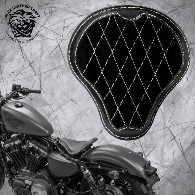"""Solo Sitz + Montage Kit Harley Davidson Sportster 04-20 """"Glanz und Samt"""" Schwarz und Weiß V3"""