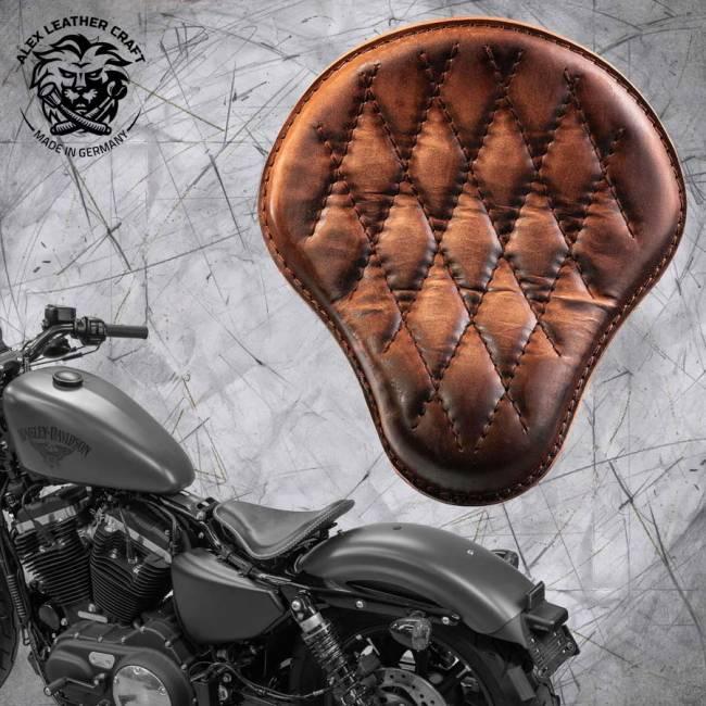 Solo Selle + Montage Kit Harley Davidson Sportster 04-20 Vintage Marron V3