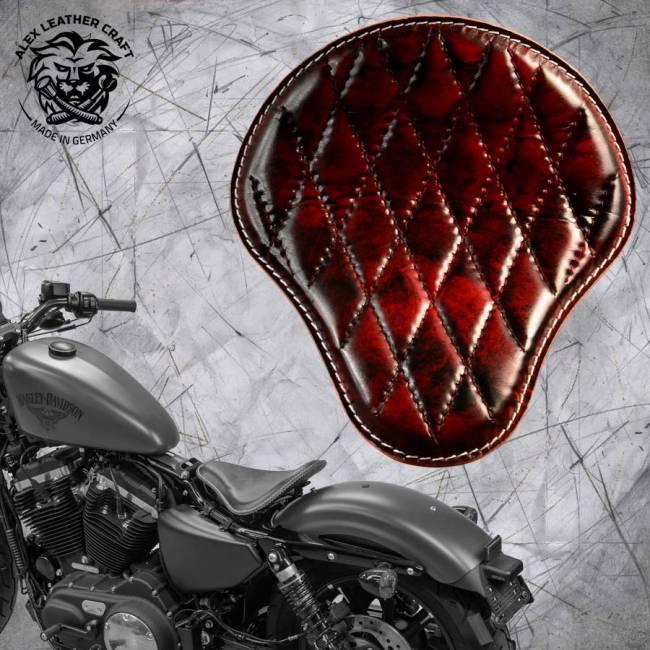 Solo Sitz + Montage Kit Harley Davidson Sportster 04-20 Rot und Schwarz V3