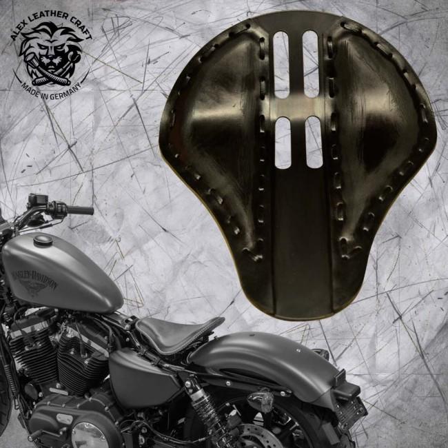 "Solo Sitz + Montage Kit Harley Davidson Sportster 04-20 ""4Fourth"" Vintage Schwarz"
