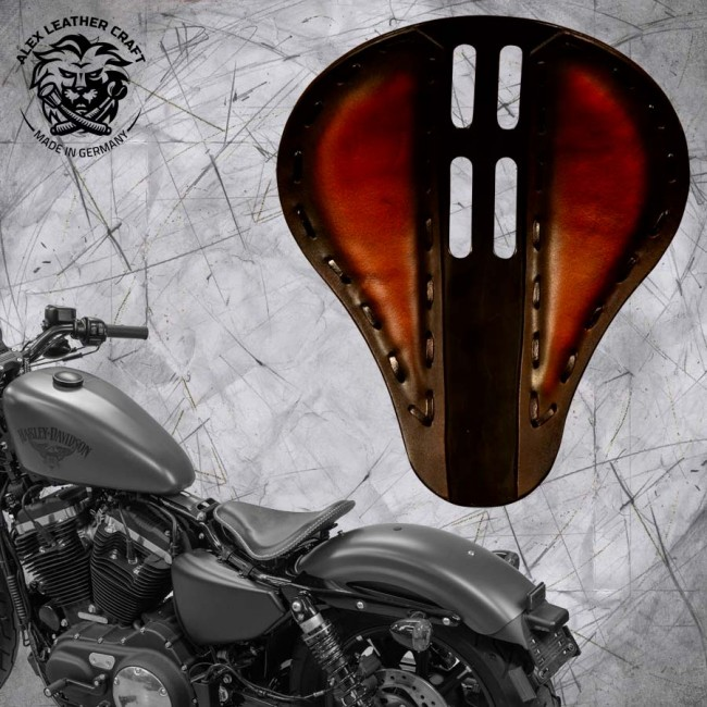 "Solo Seat + Montage Kit Harley Davidson Sportster 04-20 ""4Fourth"" Saddle Tan"