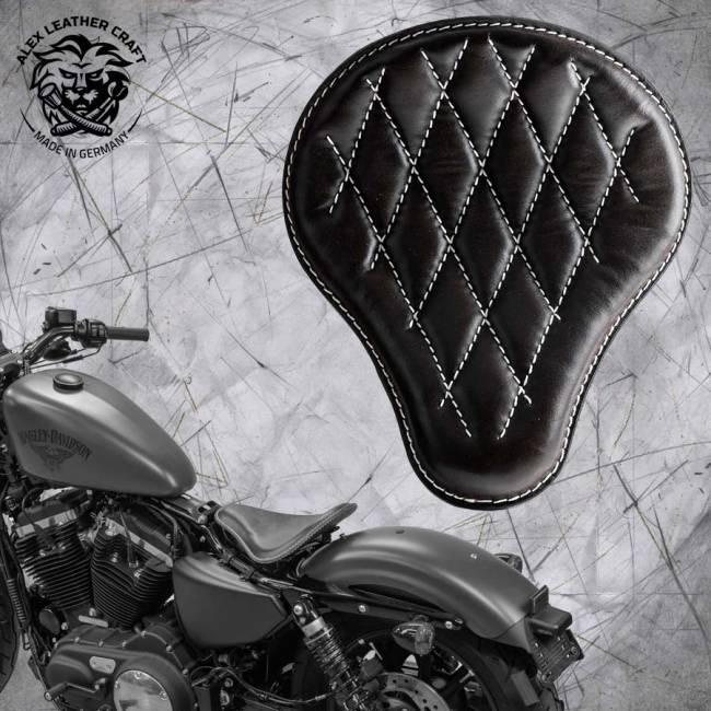 Solo Sitz + Montage Kit Harley Davidson Sportster 04-20 Schwarz und weiß V3