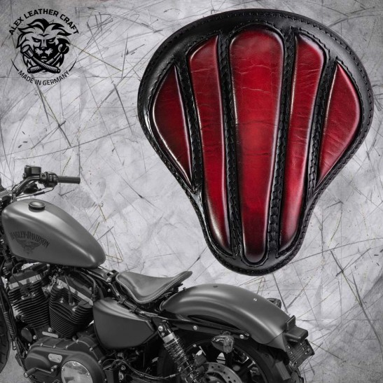 "Solo Sitz + Montage Kit Harley Davidson Sportster 04-20 ""Optimus"" dunkle Kirschfarbe"