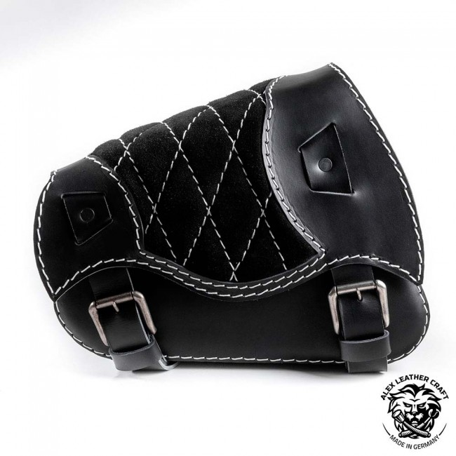 Motorcycle Saddlebag Sportster 1988-2020 Gloss and Velvet Black and White Diamond