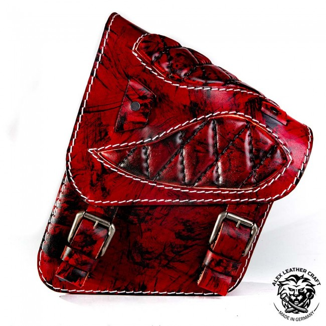 "Motorcycle Saddlebag Yamaha V Star/Road Star ""Spider"" Diamond Red Reaper"
