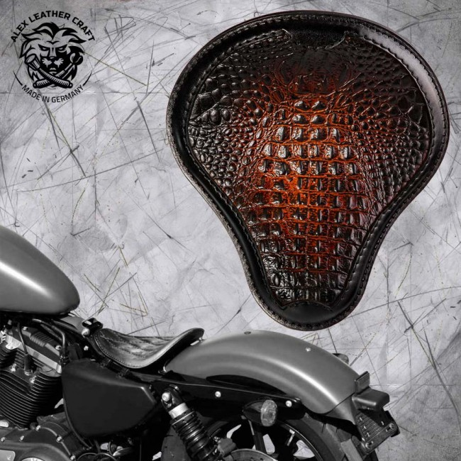 "Solo Selle Harley Davidson Sportster 04-20 ""Alligator"" Noir et Tan"