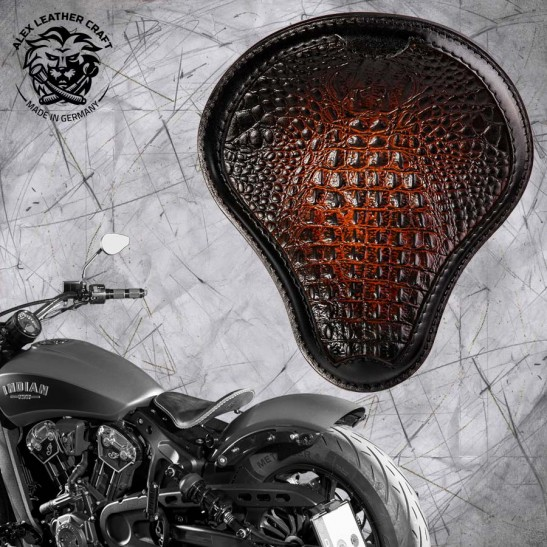 "Bobber Solo Seat for Indian Scout since 2017 ""Standard"" Alligator Black and Tan"