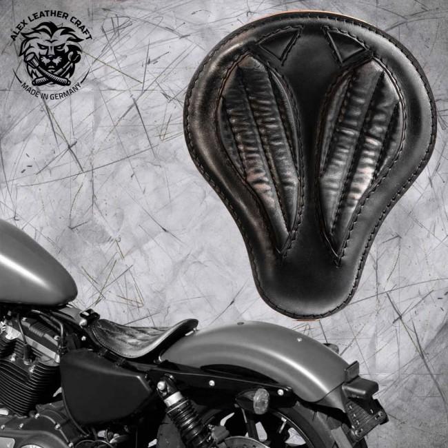"""Solo Sitz Harley Davidson Sportster 04-20 """"Kurz"""" Vintage Schwarz V2"""
