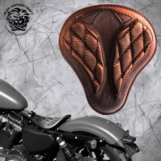 """Solo Seat Harley Davidson Sportster 04-20 """"Short"""" Vintage Brown V3"""