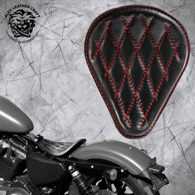 Custom Seat HD Sportster 04 - 20 Black and Red V3