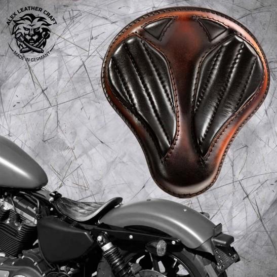 """Solo Seat Harley Davidson Sportster 04-20 """"Short"""" Black and Brown V2"""