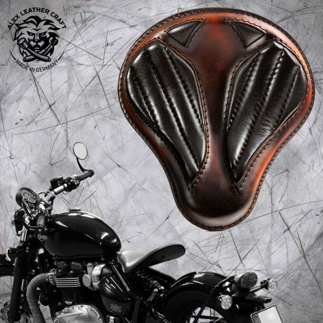 "Triumph Bonneville Bobber Seat since 2016 ""Standard'' Short Black and Brown V2"