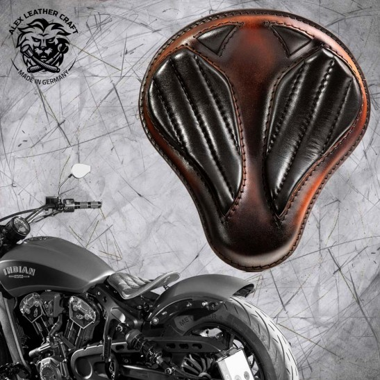 "Bobber Solo Seat for Indian Scout since 2017 ""Standard"" Short Black and Brown V2"