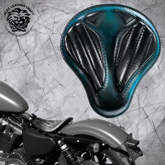 """Solo Seat Harley Davidson Sportster 04-20 """"Short"""" Tiffany Blue & Black V2"""