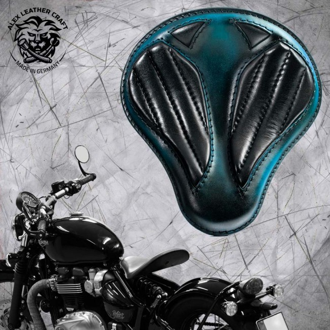 "Triumph Bonneville Bobber Seat since 2016 ""Standard'' Short Tiffany Blue & Black V2"