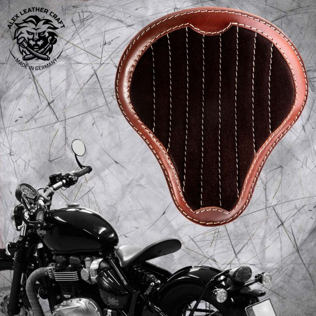 "Triumph Bonneville Bobber Seat since 2016 ""Standard"" Gloss and Velvet Black and Brown V2"
