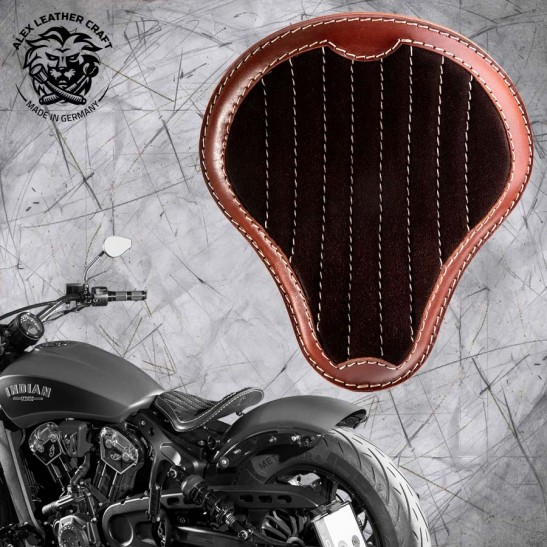 "Bobber Solo Seat for Indian Scout since 2017 ""Standard"" Gloss and Velvet Black and Brown V2"