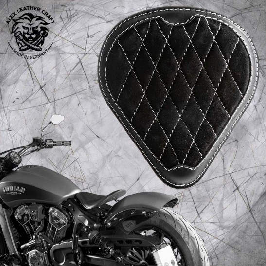 "Bobber Solo Seat for Indian Scout since 2017 ""Drop"" Gloss and Velvet Black and White V3"