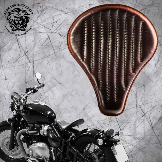 "Triumph Bonneville Bobber Seat since 2016 ""Long"" Dark Brown V2"