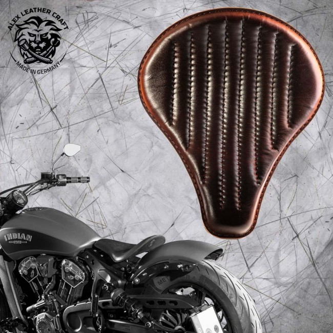 "Bobber Solo Seat for Indian Scout since 2017 ""Long"" Dark Brown V2"