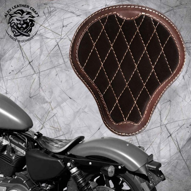 """Solo Sitz Harley Davidson Sportster 04-20 """"Glanz und Samt"""" Schwarz und Dunkelbraun V3"""