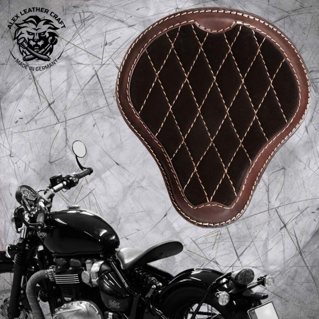 "Triumph Bonneville Bobber Seat since 2016 ""Standard"" Gloss and Velvet Black and Dark Brown V3"