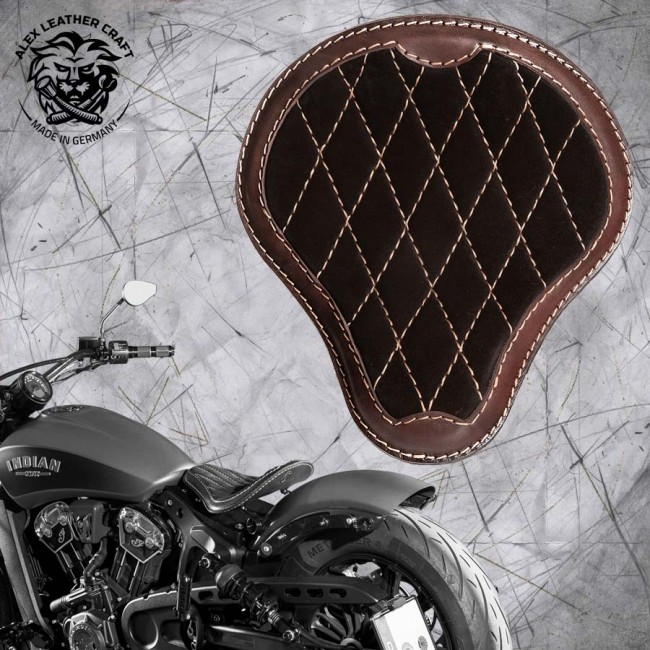 "Bobber Solo Seat for Indian Scout since 2017 ""Standard"" Gloss and Velvet Darkbrown V3"