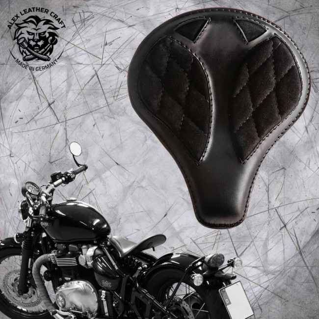 "Triumph Bonneville Bobber Seat since 2016 ""Long"" Gloss and Velvet Black V3"