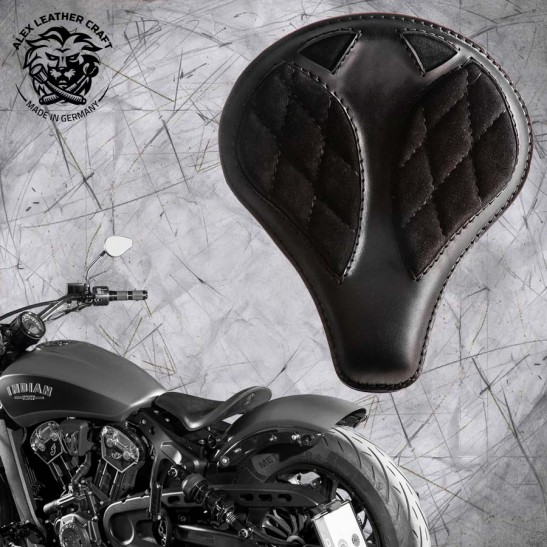 "Bobber Solo Seat for Indian Scout since 2017 ""Long"" Gloss and Velvet Black V3"