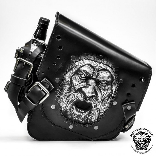"Motorcycle Saddlebag for Harley Davidson Softail ""Warrior"" Black"