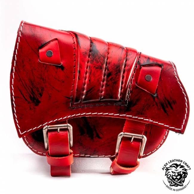 Saddlebag for Triumph Bonneville Bobber Red and Black V2