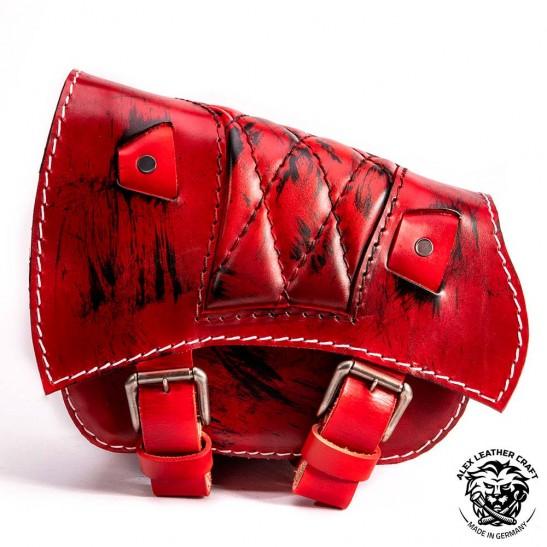 Saddlebag for Triumph Bonneville Bobber Diamond Red and Black
