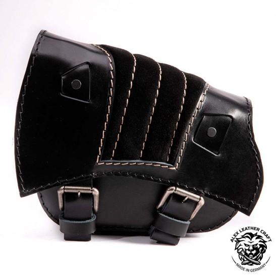 Saddlebag for Triumph Bonneville Bobber Gloss and Velvet Black & Beige V2