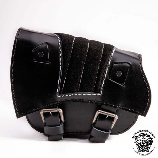 Saddlebag for Triumph Bonneville Bobber Gloss and Velvet Black & White V2