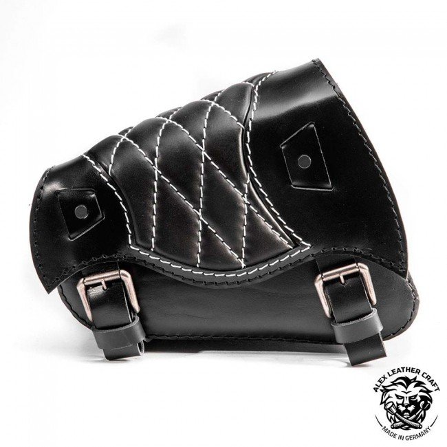 Motorcycle Saddlebag Sportster 1988-2020 Black and White Diamond