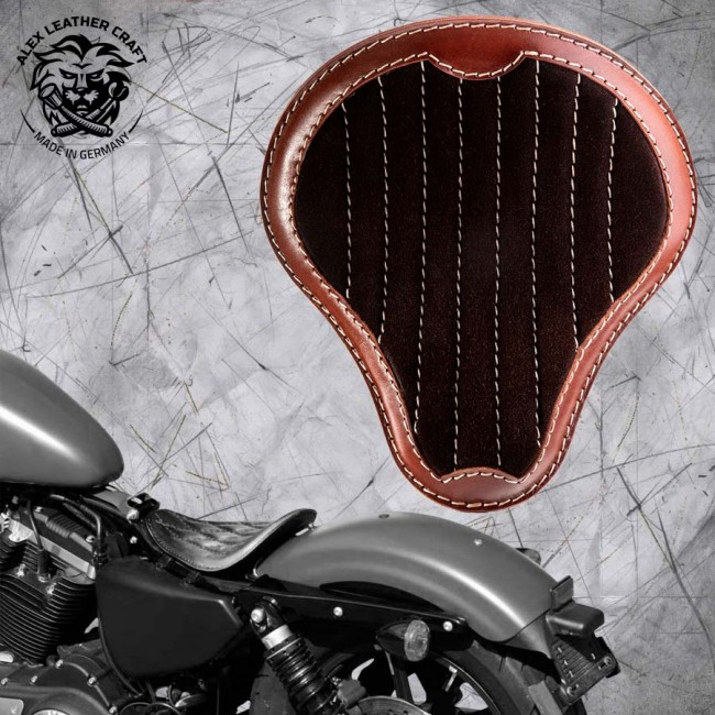 "Solo Seat Harley Davidson Sportster 04-20 ""Gloss and Velvet"" Black and Brown V2"