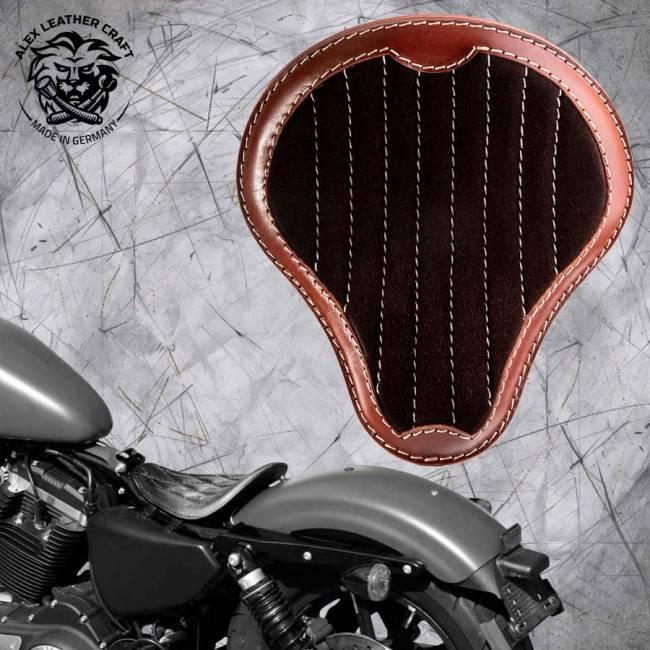 """Solo Sitz Harley Davidson Sportster 04-20 """"Glanz und Samt"""" Schwarz und Braun V2"""