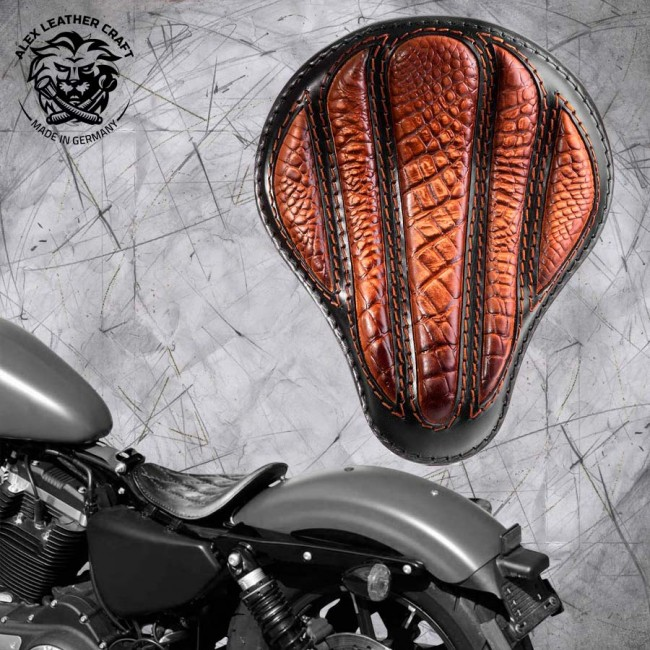"Solo Selle Harley Davidson Sportster 04-20 ""Optimus"" Alligator Vintage Marron"