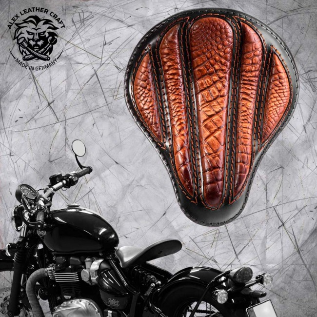 "Triumph Bonneville Bobber Selle de 2016 ""Standard"" Optimus Alligator Vintage Marron"