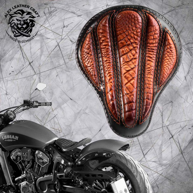 "Bobber Solo Seat for Indian Scout since 2017 ""Standard"" Optimus Alligator Vintage Brown"