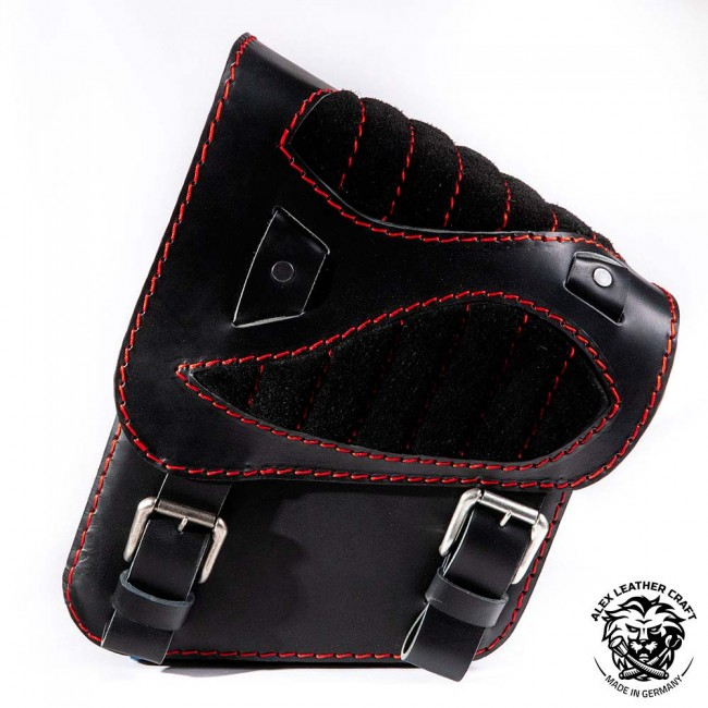 "Motorcycle Saddlebag Honda Shadow VT600 ""Spider"" Gloss and Velvet Black and Red V2"