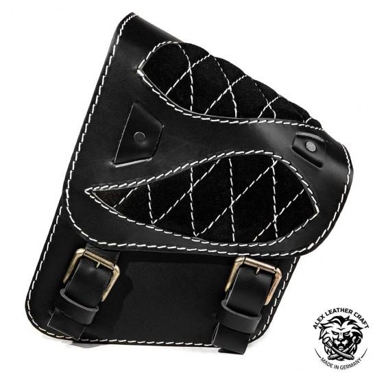 """Motorcycle Saddlebag for Harley Davidson Softail """"Spider"""" Diamond Gloss and Velvet Black and White"""