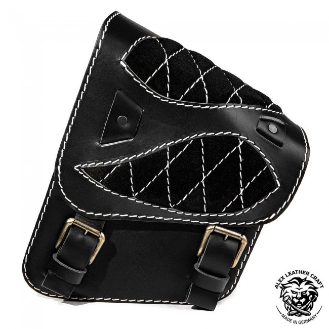 "Motorcycle Saddlebag Yamaha V Star/Road Star ""Spider"" Diamond Gloss and Velvet Black and White"