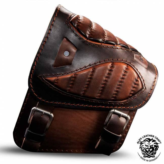 "Motorcycle Saddlebag for Harley Davidson Softail ""Spider"" Black and Brown V2"