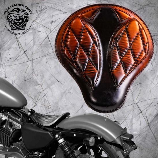 """Solo Seat Harley Davidson Sportster 04-20 """"Short"""" Saddle Tan V3"""
