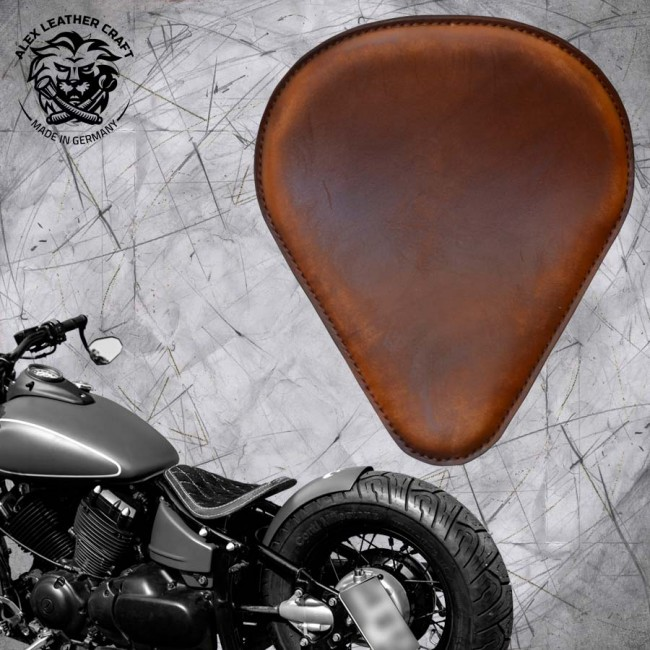 Solo Selle Yamaha Drag Star 650 Vintage Marron et Montage Kit