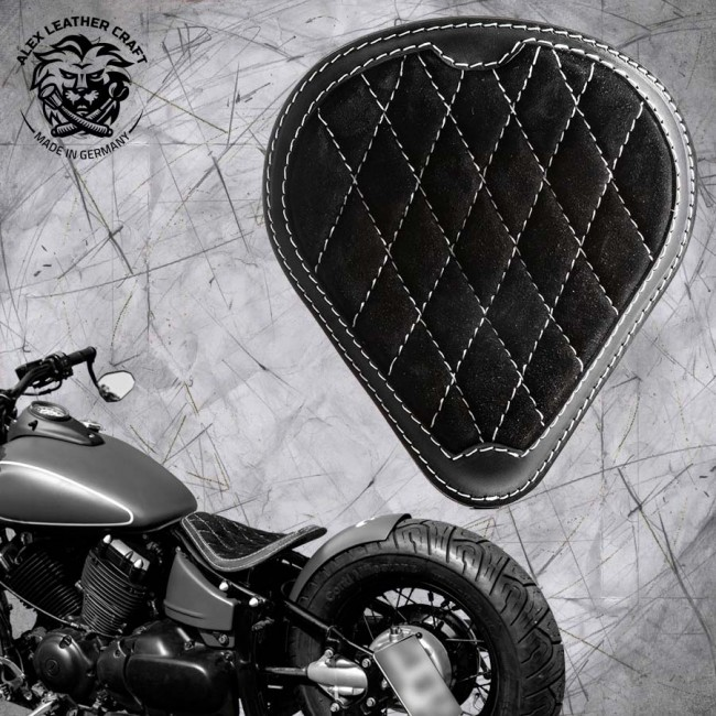 Solo Seat Gloss and Velvet Black and White Diamond Yamaha Drag Star 650 and Montage Kit