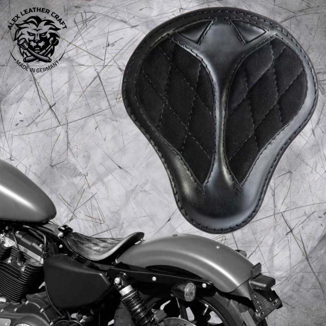 """Solo Selle Harley Davidson Sportster 04-20 """"Short"""" Velours Noir Motif de diamant"""